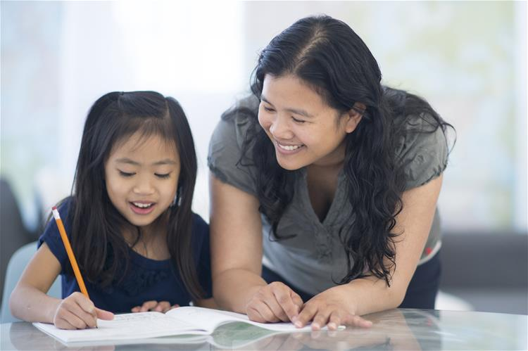 Mom and daughter talking about the transition to third grade